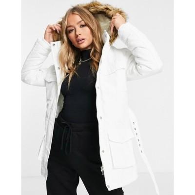 ブレーブソウル レディース コート アウター Brave Soul pam pocketed coat with faux fur trim hood