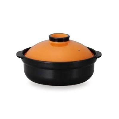 土鍋 宴(オレンジ/ブラック)10号 5〜6人 大きいサイズ土鍋
