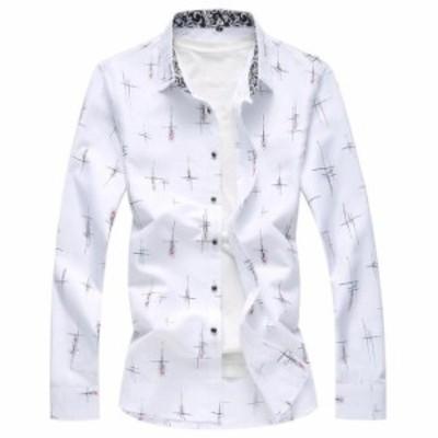 超人気品イギリス風 メンズ メンズ 花柄 長袖 カジュアルシャツ 大きいサイズもあり【M~7XL tシャツ