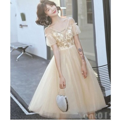 ミモレドレス Aラインワンピ パーティードレス 結婚式ドレス 20代 30代40代 二次会 ウエディングドレス フォーマルドレス お呼ばれドレス 忘年会