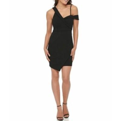 ゲス レディース ワンピース トップス Asymmetrical Neck Crepe Sheath Dress Black