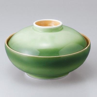 和食器 蓋物/ 緑彩蓋向 /陶器 煮物 料亭 割烹 碗 業務用