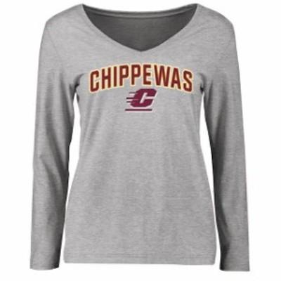 Fanatics Branded ファナティクス ブランド スポーツ用品  Cent. Michigan Chippewas Womens Ash Proud Mascot Long Sleeve T-Shirt