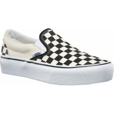 バンズ レディース スニーカー シューズ Classic Slip-On Platform Sneaker Black/White Checker/White Canvas