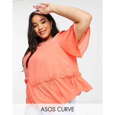 エイソス レディース シャツ トップス ASOS DESIGN Curve smock top with asymmetric hem in bright orange
