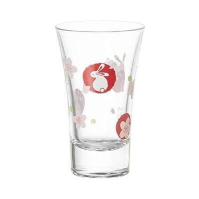 東洋佐々木ガラス 日本酒グラス 丸紋うさぎと桜柄 クリア 100ml P-01145-J395