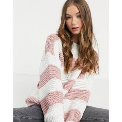 インザスタイル レディース ニット・セーター アウター In The Style x Billie Faiers oversized contrast knitted sweater in pink stripe