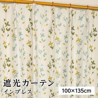 遮光カーテン サンシェード 2枚組 / 100cm×135cm グリーン / リーフ柄 洗える 形状記憶 『インプレス』 九装