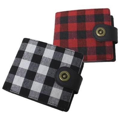 財布 メンズ レディース 二つ折り ブロックチェック柄 ゆうパケット 全国送料無料