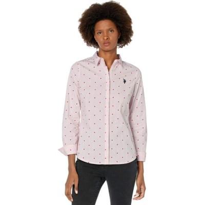 ユーエスポロアッスン U.S. POLO ASSN. レディース ブラウス・シャツ トップス Long Sleeve Stripe & Dot Stretch Poplin Shirt Sea Pink