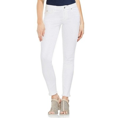 ヴィンスカムート レディース デニムパンツ ボトムス Frayed Hem Skinny Jeans Ultra White