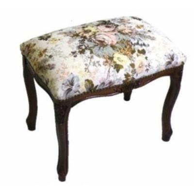 イタリア製 スツールМサイズ(フラワーゴブラン 茶脚)  椅子 イス
