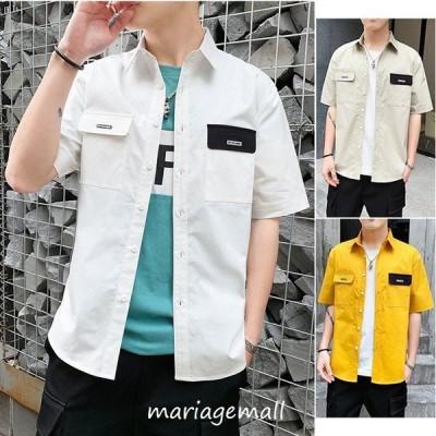 夏 シャツ  ゆとり 半袖シャツコート カジュアルなシャツ プリント シャツ 綿 シャツ 3色