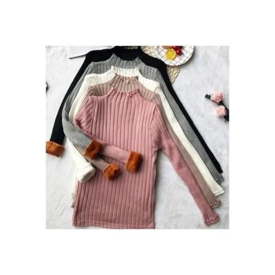 【送料無料】ピュアカラープラスベルベット ニットのセーター 女 秋冬 着やせ 着やせ | 364331_A64383-0327770