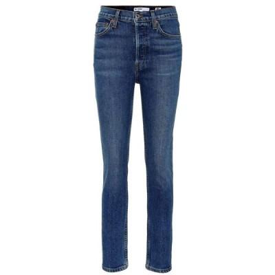 リダン RE/DONE レディース ジーンズ・デニム クロップド スキニー ボトムス・パンツ Cropped high-rise skinny jeans Medium Wash