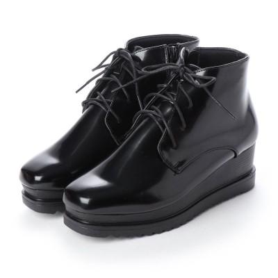 SFW ラブハンター LOVEHUNTER 高めのヒールで美脚効果抜群の'おじ靴'厚底スクエアレースアップブーツ/1511 (ブラックエナメル)