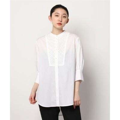 シャツ ブラウス 0 x ones:リバーレース オーバーレイシャツ