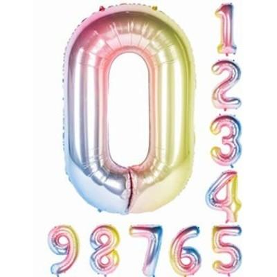 虹色 数字バルーン40インチ0-9誕生日パーティーデコレーションの風船の数字0