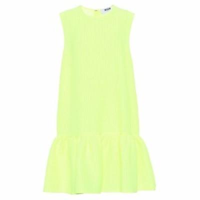 エムエスジーエム MSGM レディース ワンピース ワンピース・ドレス Jacquard silk-blend minidress fluo yellow