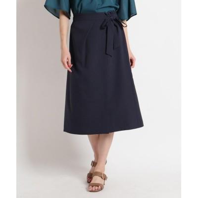 SunaUna(スーナウーナ) 【洗える】ラップ風ストレッチスカート