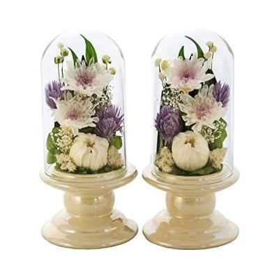 アートフォーシーズン 仏花 ●(白系)ミニ輪菊glass  対デザイン2個SETホワイト プリザーブドフラワー