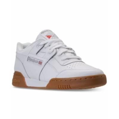 リーボック メンズ スニーカー シューズ Men's Workout Plus Casual Sneakers from Finish Line WHITE/CARBON/CLASSIC RED/