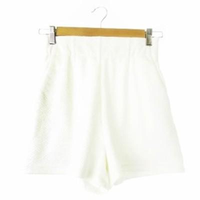 【中古】リエンダ rienda パンツ ショート ハイウエスト エンボス 総柄 S 白 ホワイト /CK12 ☆ レディース