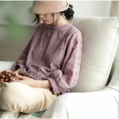 ブラウス 長袖 レディース シャツブラウス トップス ゆったり 花柄 刺繍 大きいサイズ オフィス 通勤 体型カバー ゆったり 秋 コーデ 6色