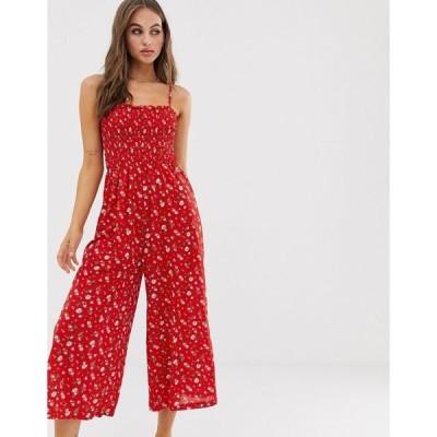 グラマラス レディース ワンピース トップス Glamorous cami jumpsuit with shirring in ditsy floral Red ditsy