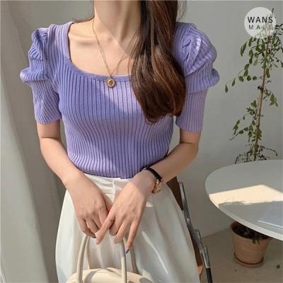 Wansmall レディース ニット/セーター kn4200 Pulse Shoulder Puff Short Sleeve Knitwear