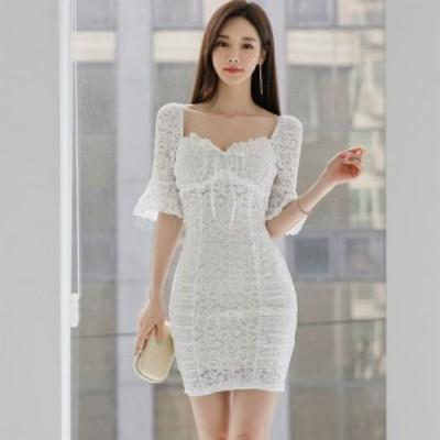 キャバ ドレス キャバドレス ワンピース ミニドレス 2WAY ホルターネック リボン ヌーディ ミニ丈 透け感 レース ベルスリーブ ホワイト