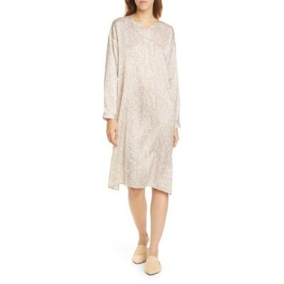 エイリーンフィッシャー ワンピース トップス レディース Silk & Organic Cotton Long Sleeve Henley Dress Bramble