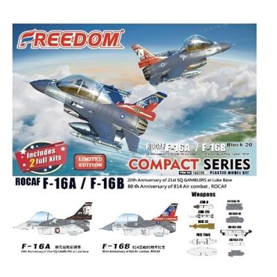 フリーダム コンパクトシリーズ:ROCAF F-16Aルーク空軍基地第21飛行隊20周年 & F-16B 814戦闘飛行隊80周年 (限定版) スケールプラモデル FRE162709