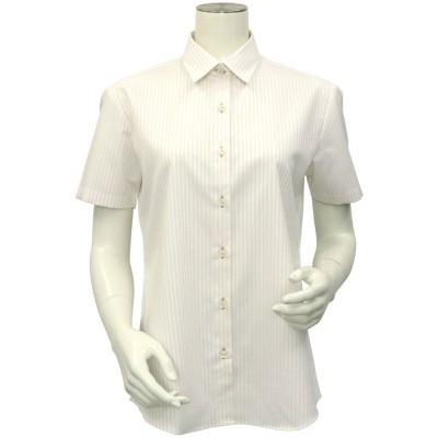 トーキョーシャツ TOKYO SHIRTS 形態安定ノーアイロン レギュラー衿 半袖ビジネスワイシャツ (クリーム)