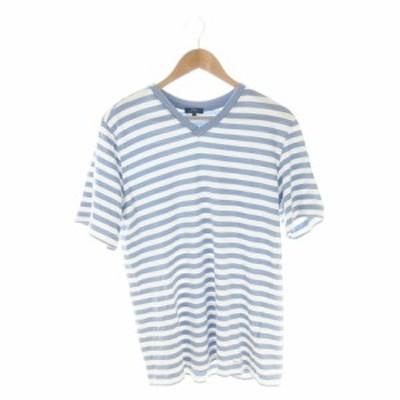 【中古】アーバンリサーチ URBAN RESEARCH ITEMS Tシャツ カットソー Vネック 半袖 ボーダー 40 水色 ブルー /AH15 ☆
