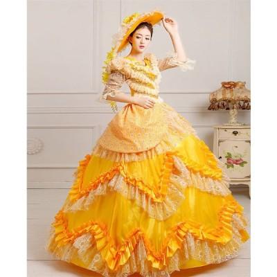 カラードレス 宮廷服ドレス ロングドレス 舞台ステージ衣装 プリンセスライン ドレス 公爵夫人 演劇オペラ声楽 パーティードレス 姫様ドレス 中世 貴族