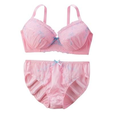 トゥインクルリボンブラジャー。ショーツセット(ラージサイズ) (ブラジャー&ショーツセット)Bras & Panties
