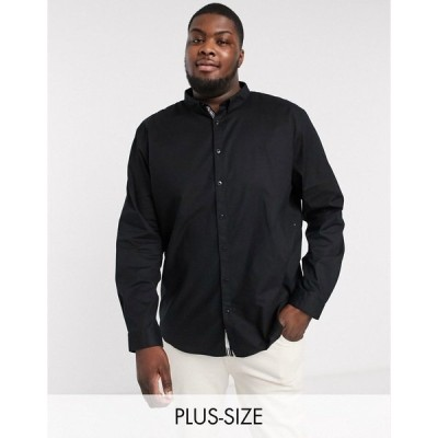 リバーアイランド メンズ シャツ トップス River Island Big & Tall long sleeve oxford shirt in black Black