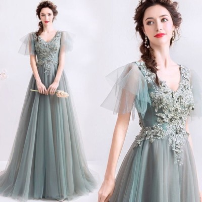 【ANGEL】Vネック肌透けチュールレースパール半袖付き背中編上げAラインロングドレス【送料無料】高品質 グレー 灰色 ロングドレス