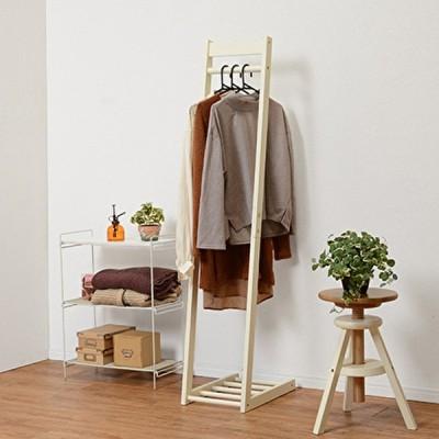 ハンガーラック 木製 アイボリー 幅30cm シンプル コンパクト 天然木 おしゃれ