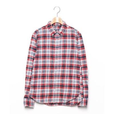 シャツ ブラウス チェック柄長袖シャツ