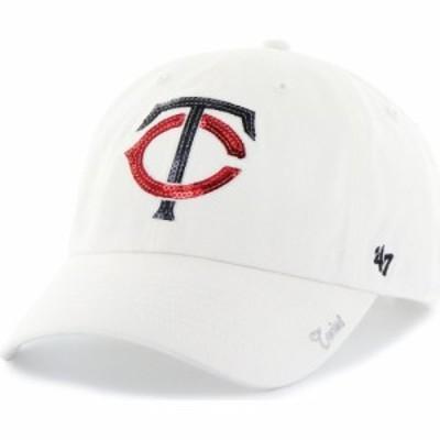 フォーティセブン 47 レディース キャップ 帽子 Minnesota Twins Sparkle Clean Up White Adjustable Hat