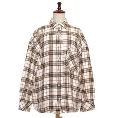 YANUK ヤヌーク チェックシャツ Y-SHIRT KATE サイズS レディース ホワイト