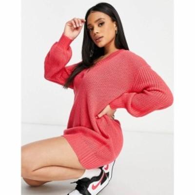 スリードベア Threadbare レディース ワンピース Vネック ワンピース・ドレス Adeline oversized v neck jumper dress in pink パラダイ