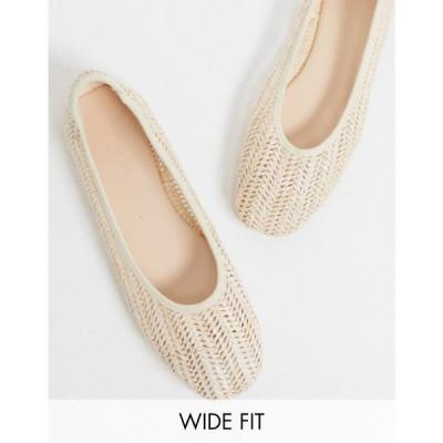 コー レン Co Wren レディース スリッポン・フラット シューズ・靴 Wide Fit woven flat shoes in cream クリーム