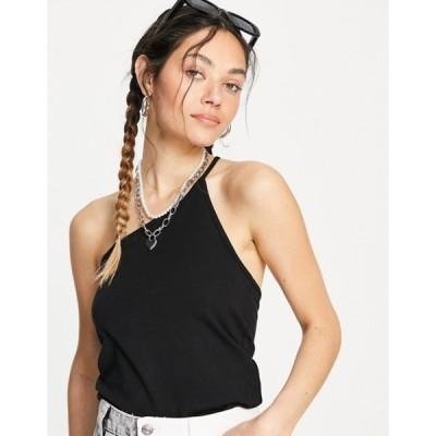 ウィークデイ レディース タンクトップ トップス Weekday Innie organic cotton one shoulder tank top in black