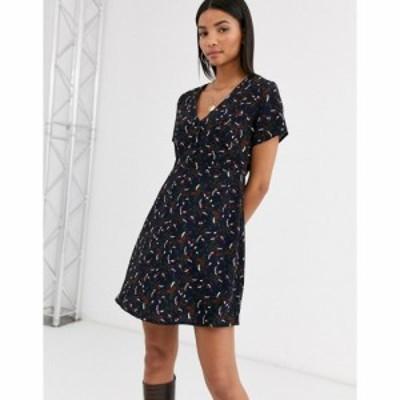 ヴィラ Vila レディース ワンピース ワンピース・ドレス Floral 90S Tea Dress ネイビー
