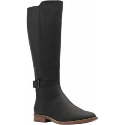 クラークス レディース ブーツ・レインブーツ シューズ Women's Clarks Camzin Branch Knee High Boot Black Leather