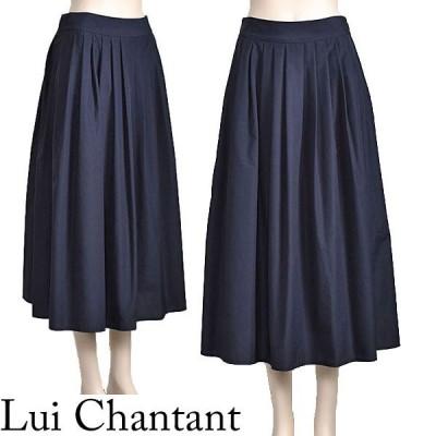 フレアスカート ロング ネイビー きれいめ 上品 ウエストゴム Lui Chantant 40代 50代