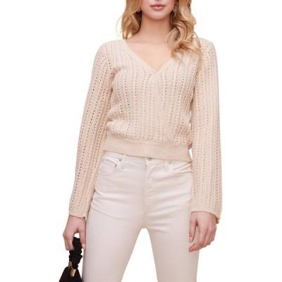アストール レディース パーカー・スウェットシャツ アウター Pointelle Wrap Front Bell Sleeve Sweater NATURAL